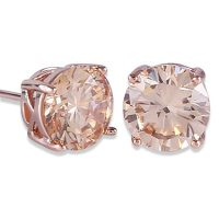 Rose Gold-Tone Yellow Crystal Stud Earrings