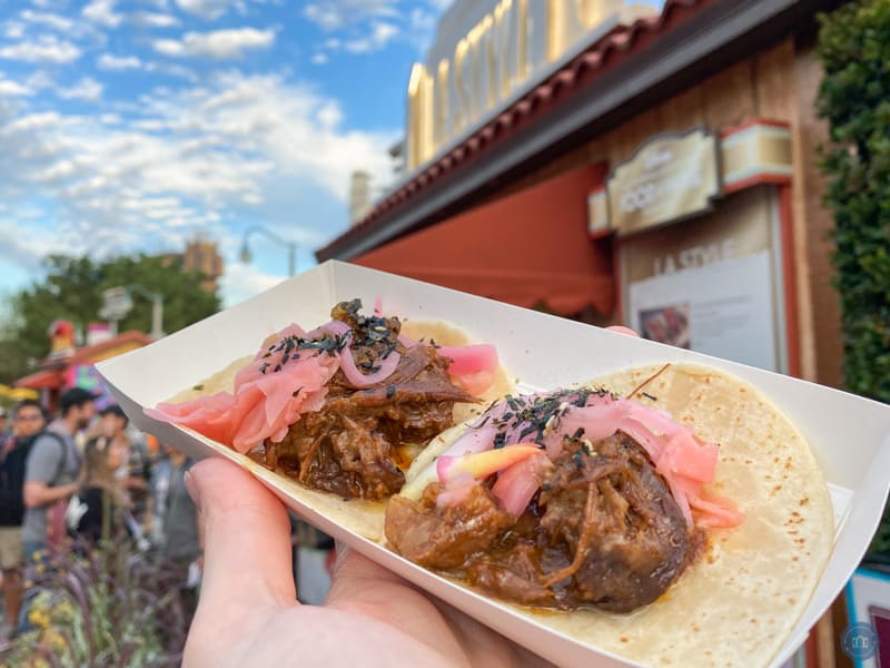 barbacoa street tacos at disneyland food and wine festival
