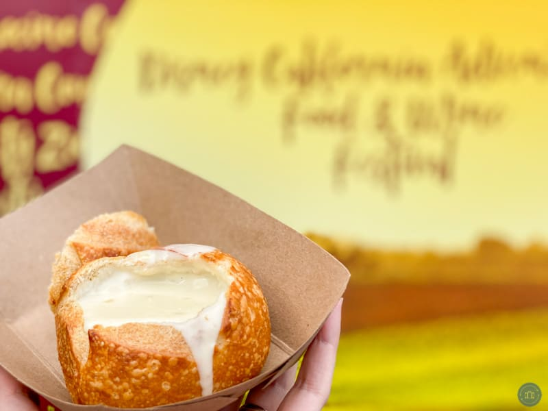 cheese soup in bread bowl