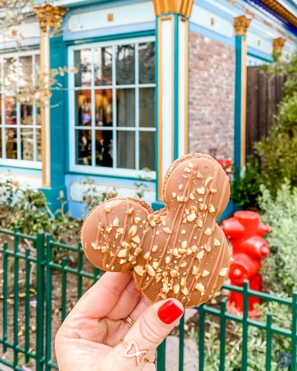 mickey macaron cookie dessert at disneyland