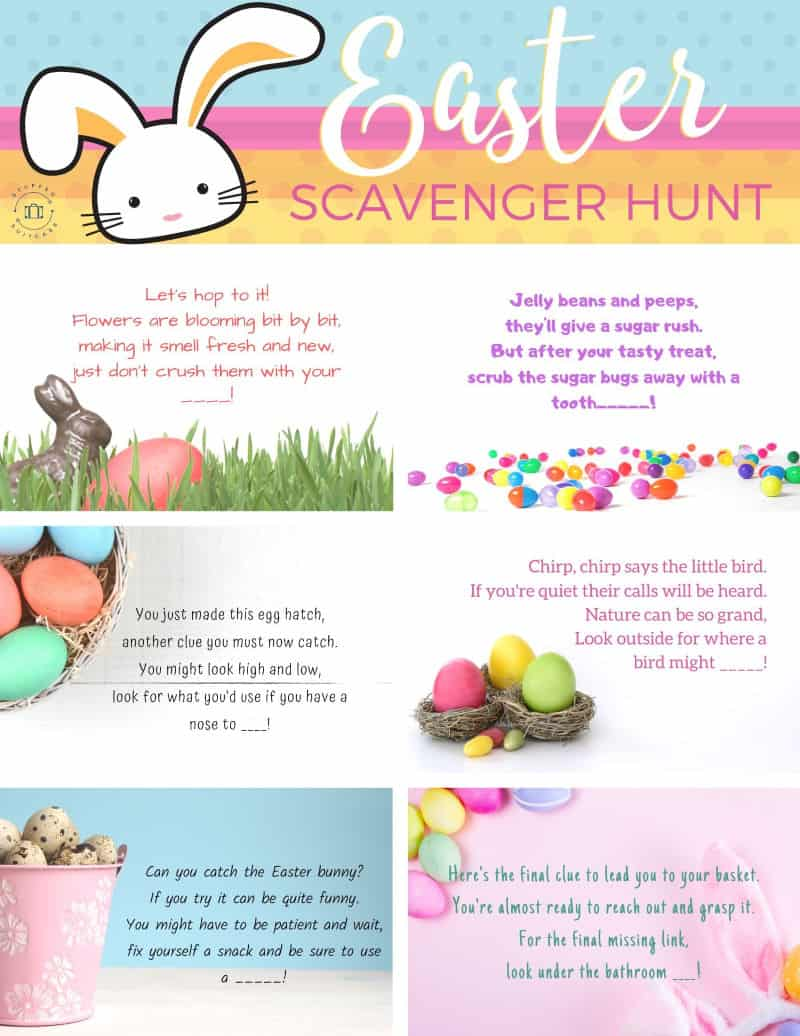 easter egg hunt clues for a scavenger hunt for kids