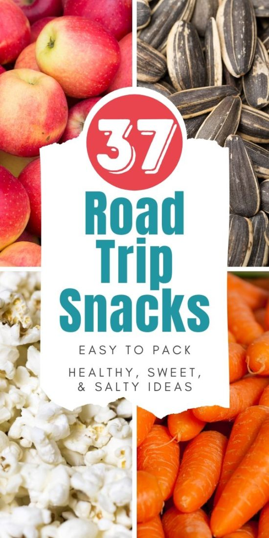 road trip snacks collage