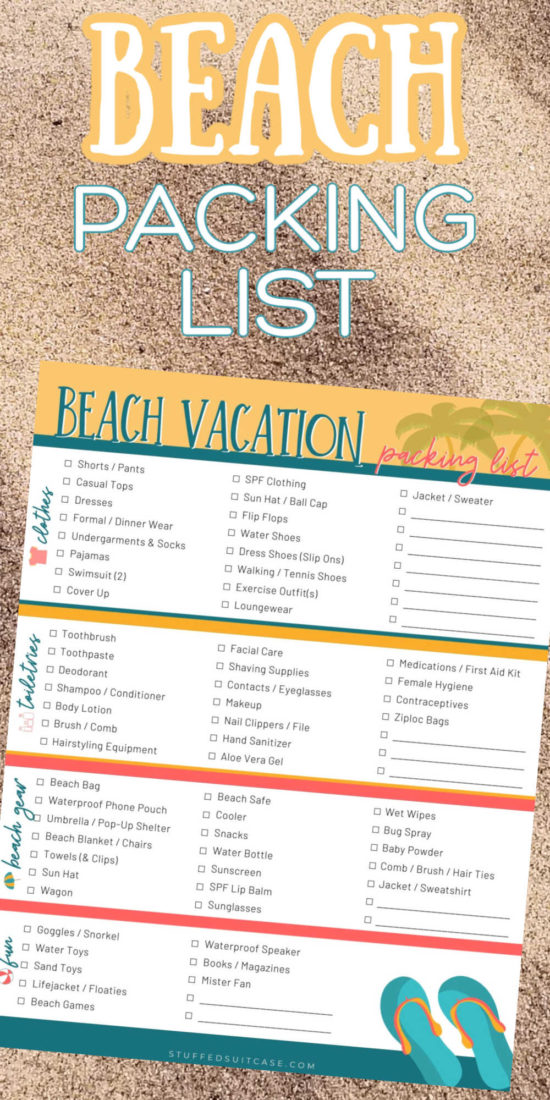 beach packing list printable