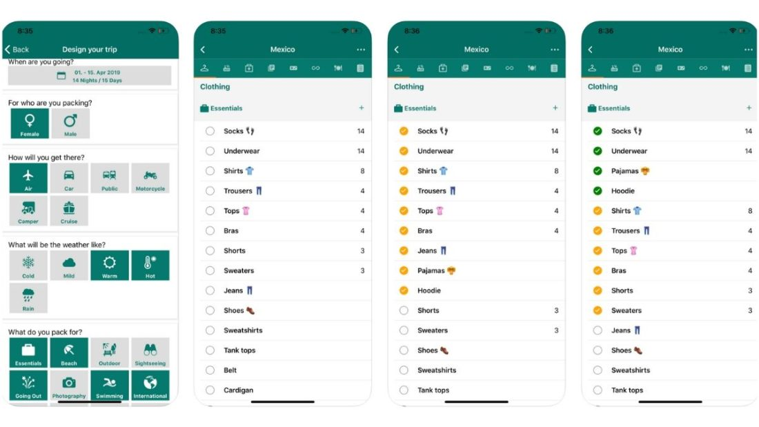 packking app screenshots