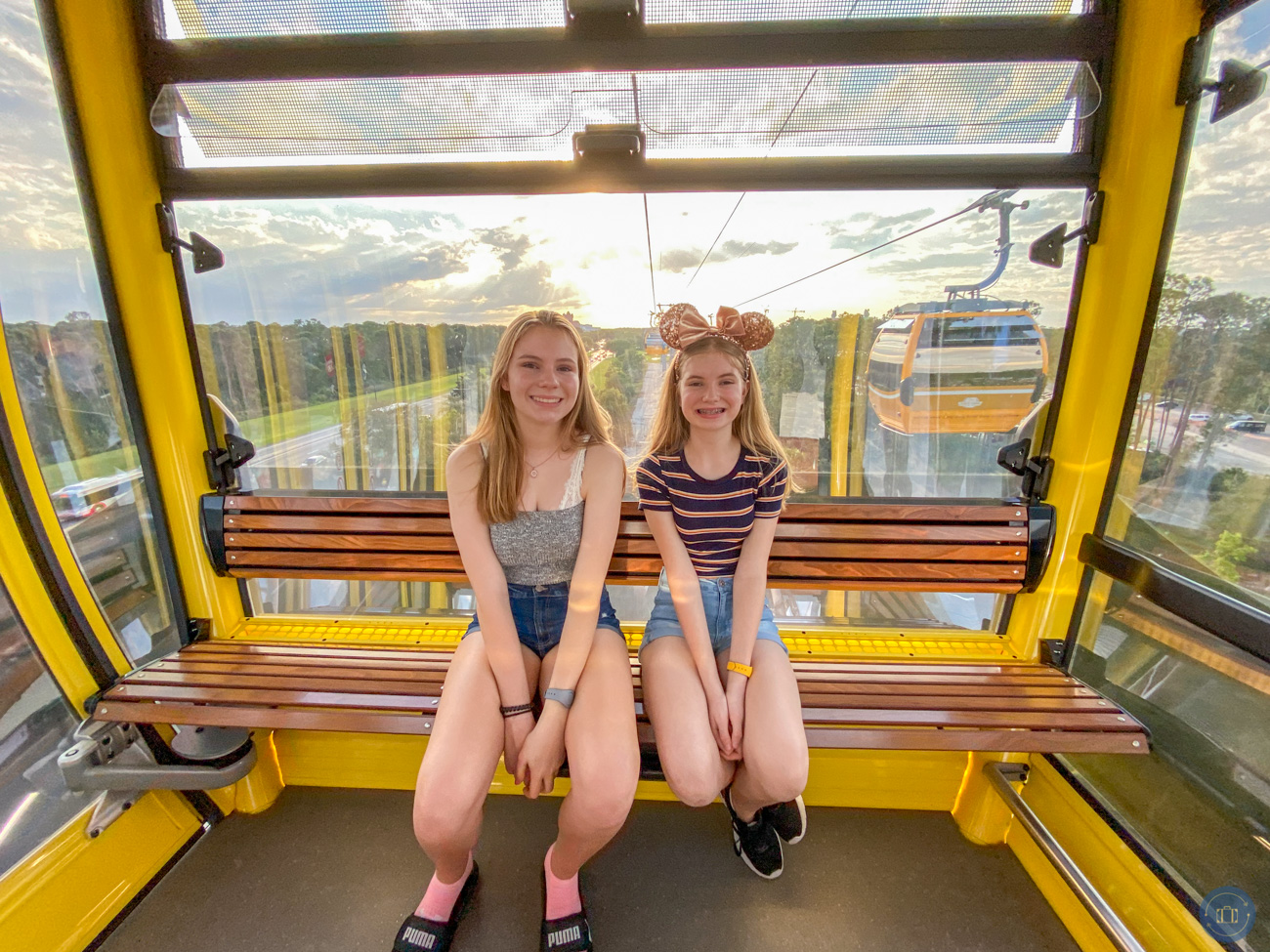 riding in the disney skyliner