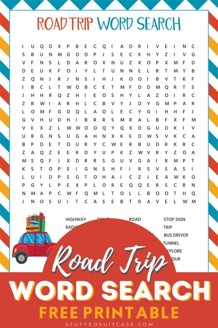 road trip word search game printable