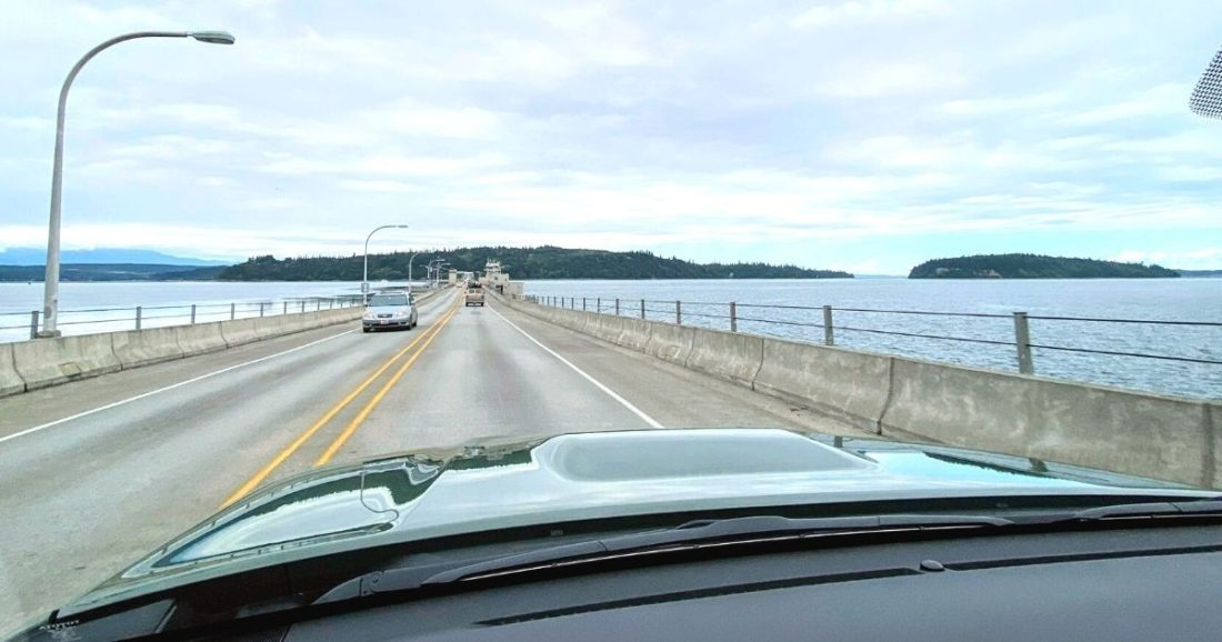 crossing hood canal bridge to olympic national park