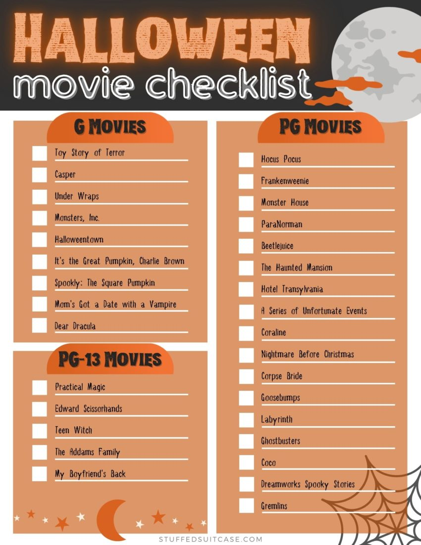 halloween movies checklist