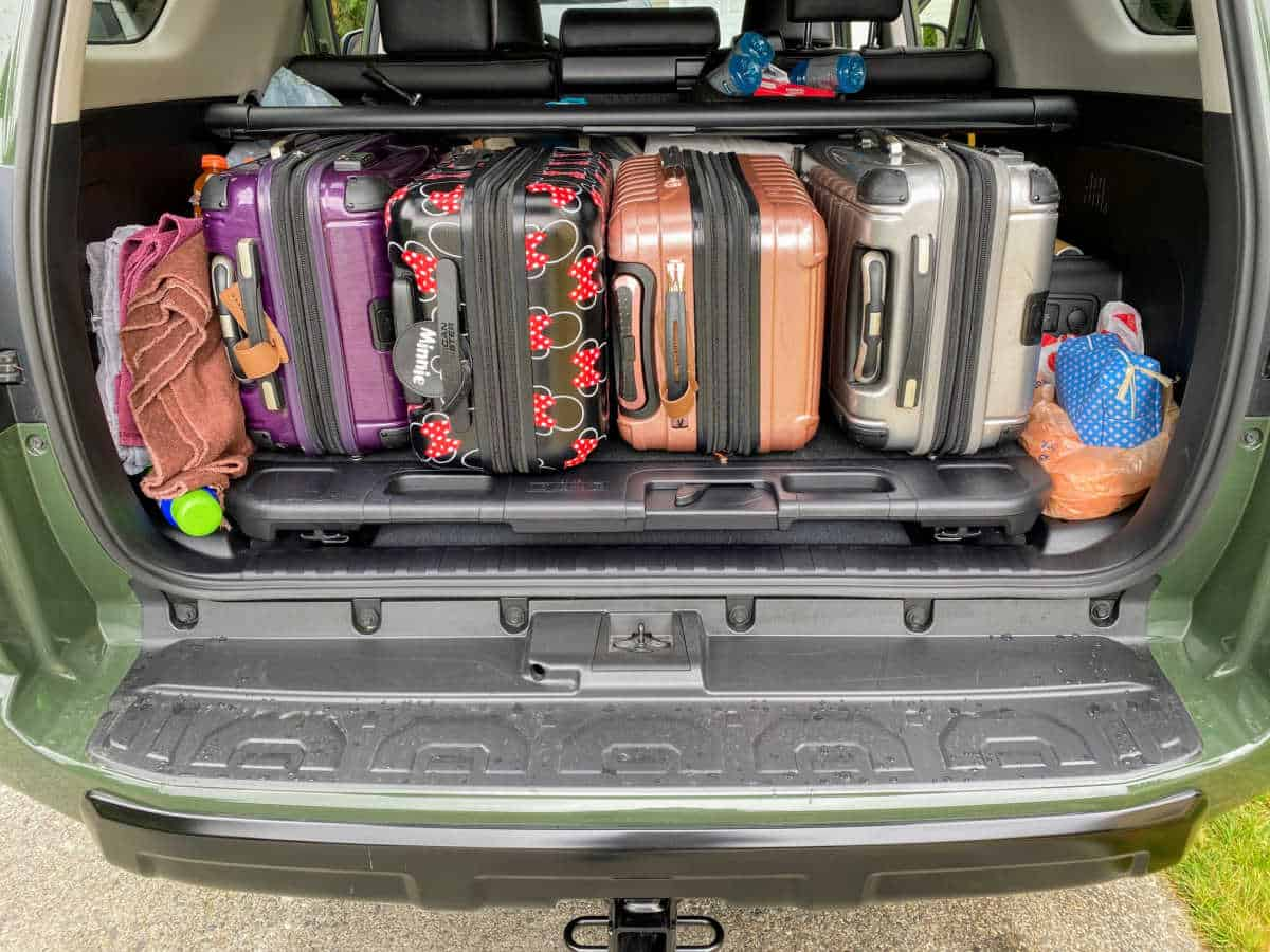 luggage in trunk of toyota 4runner trd pro