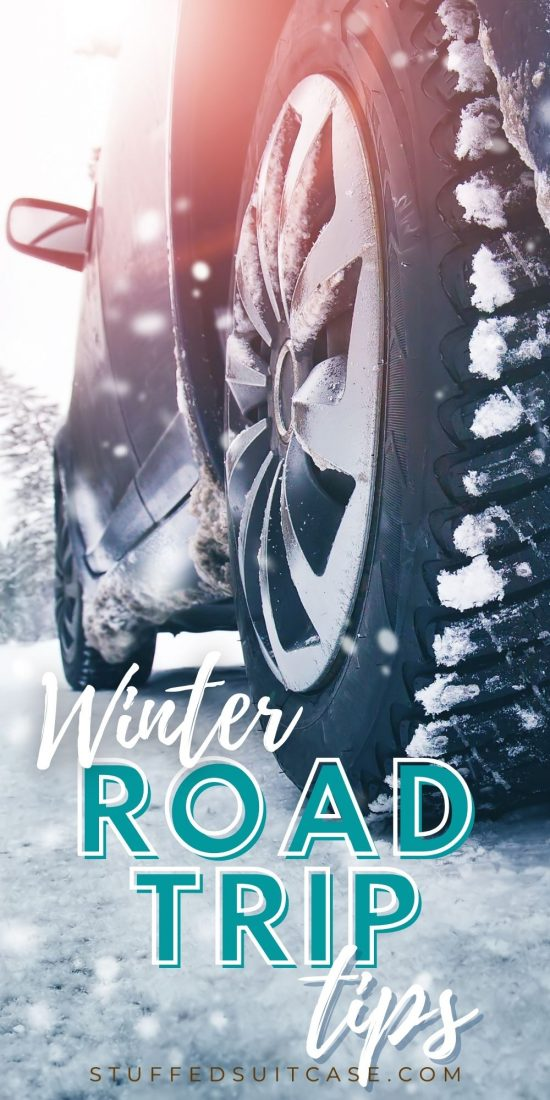 winter road trip car tire