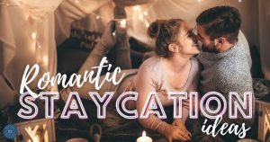 couple at home for romantic staycation