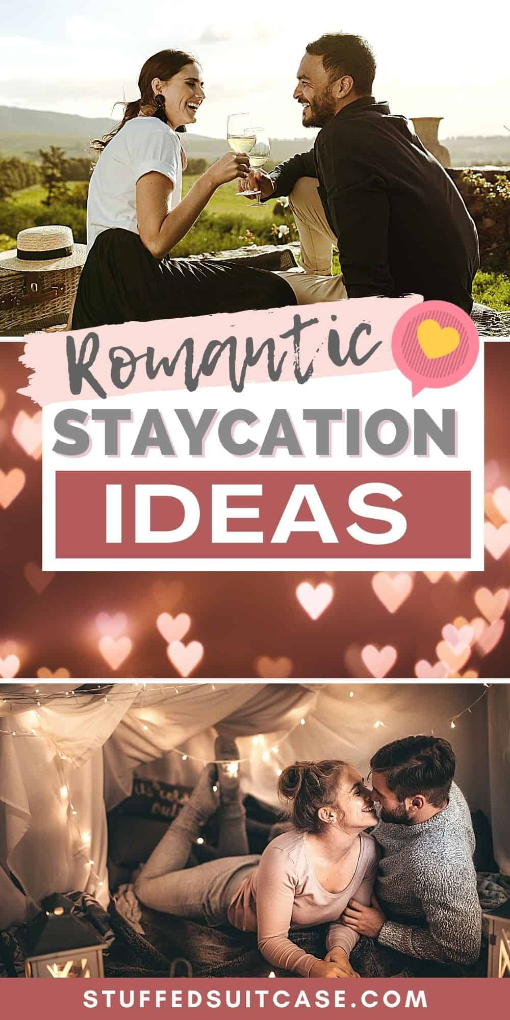 romantic staycation ideas pin collage image