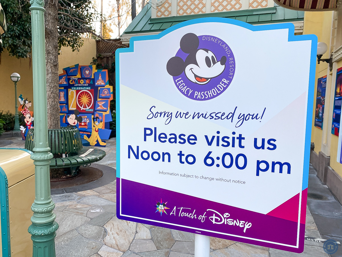 sign for disneyland legacy passholder event times at touch of disney