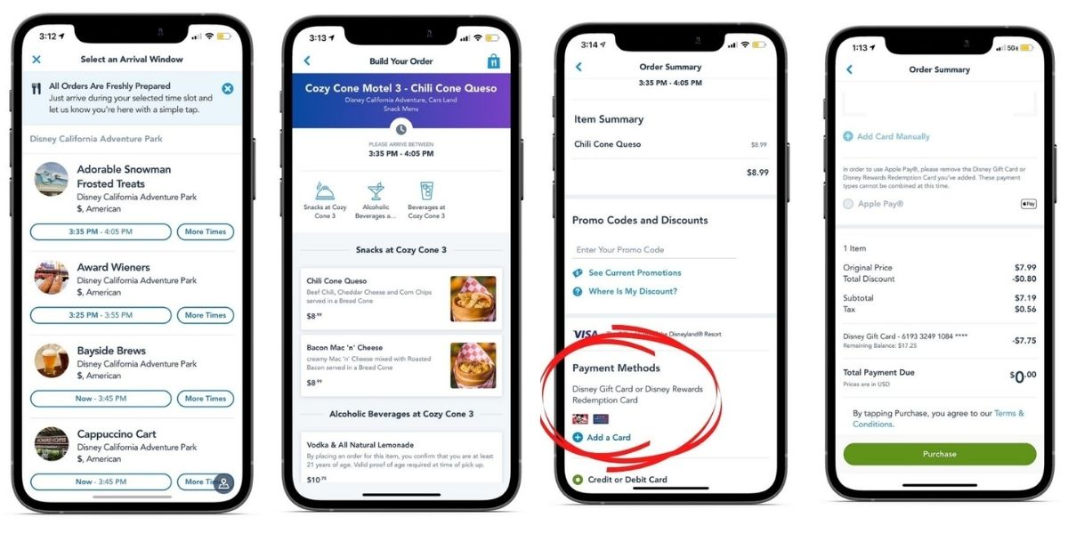 screenshots of mobile ordering at touch of disney with dining gift card
