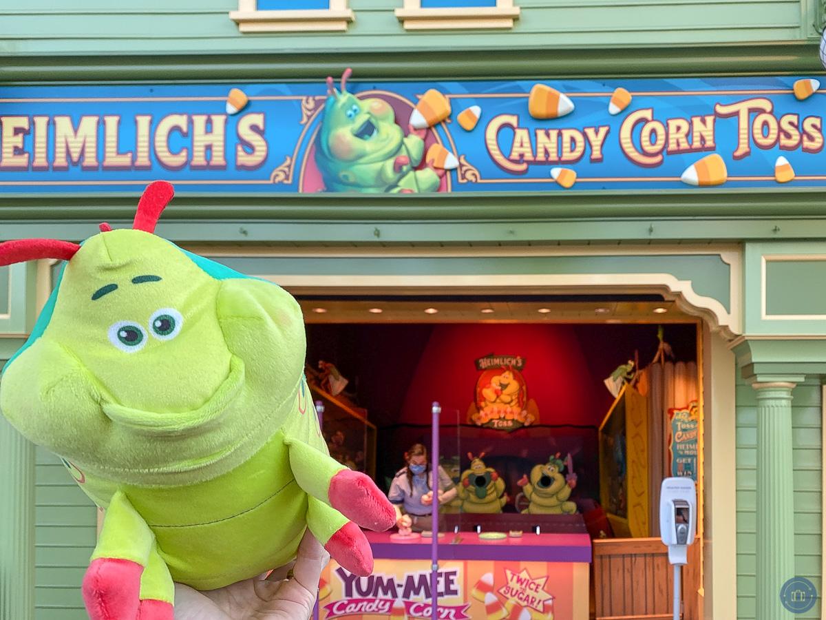 stuffed heimlich animal at pixar pier games during touch of disney