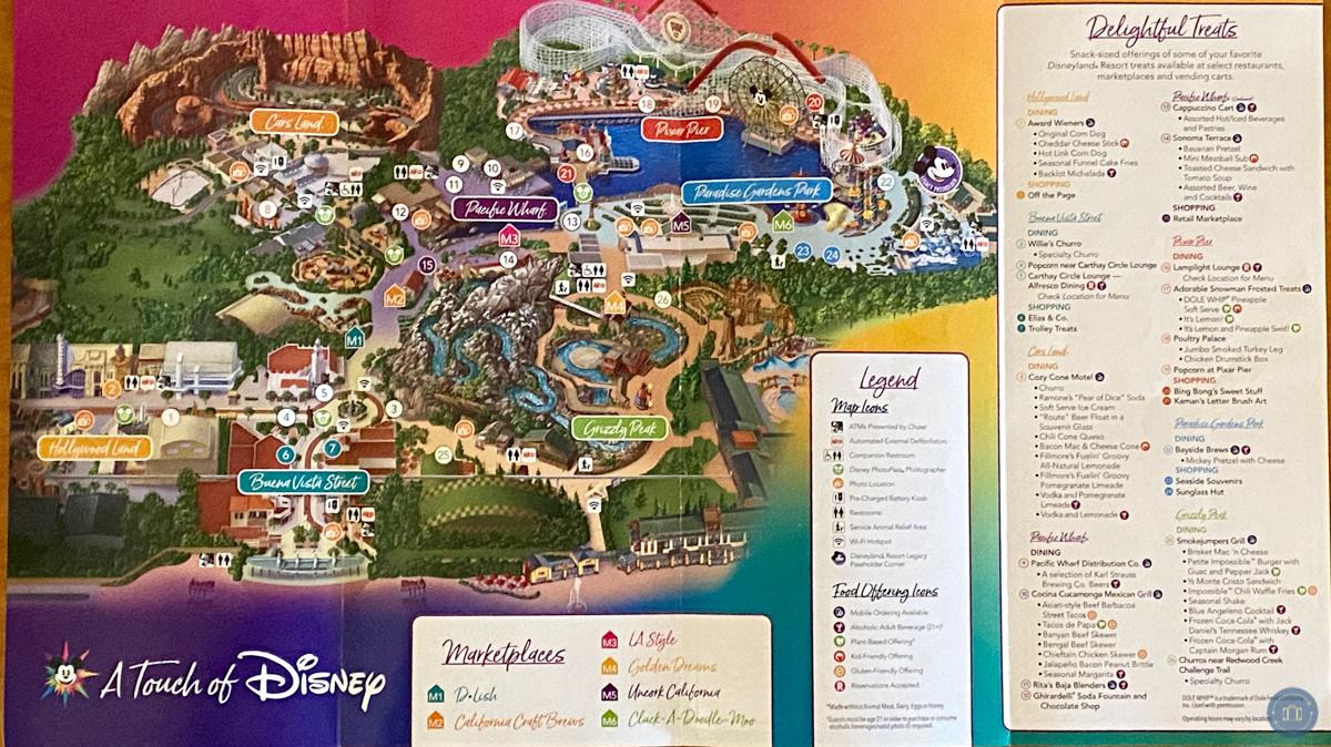 touch of disney map of Disney California Adventure park