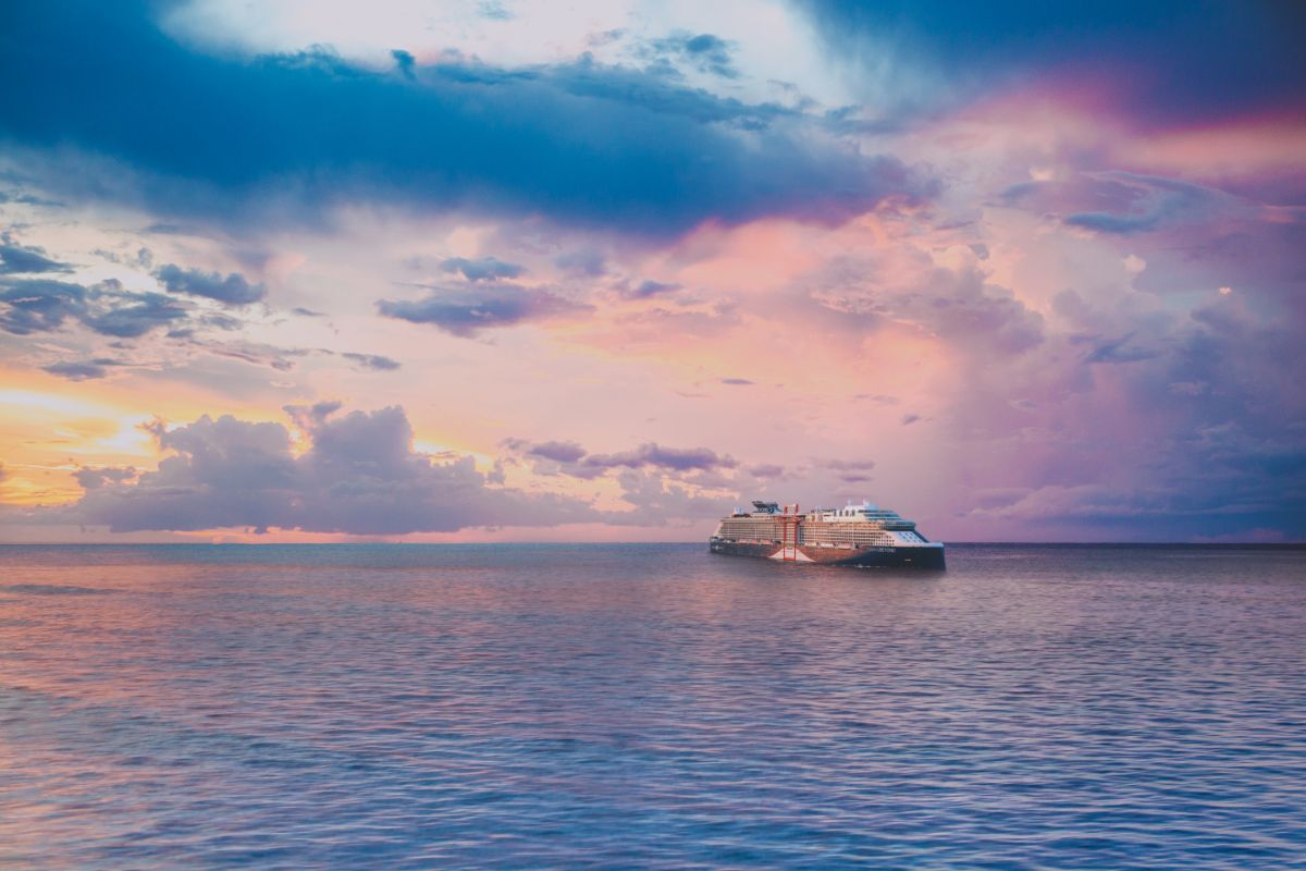 Celebrity Beyond during sunset at sea