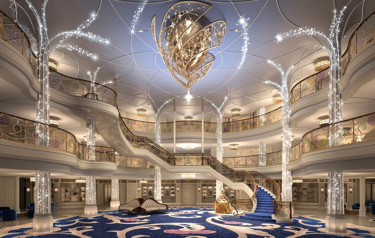 Grand Hall on Disney Wish cruise ship