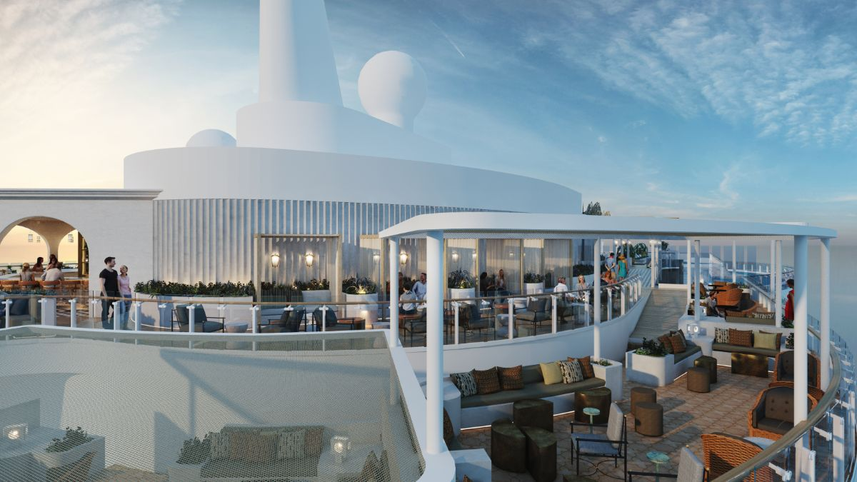 view at the multilevel Sunset Bar on Celebrity Beyond cruise ship