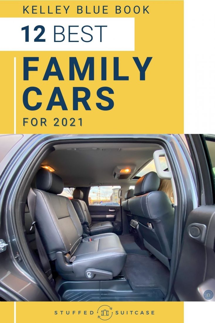 view of backseat of toyota sequoia with text for best family cars of 2021