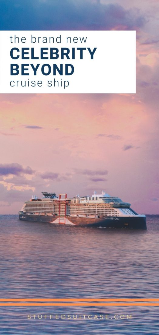 celebrity beyond cruise ship at sea during sunset with text overlay