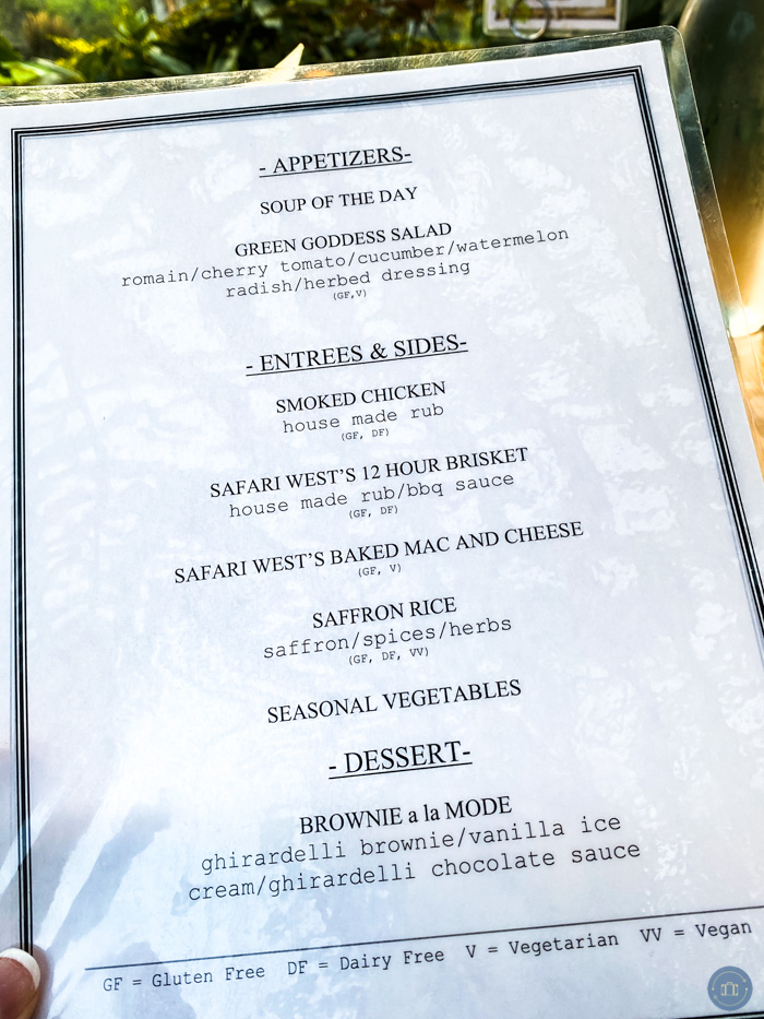 dinner menu at safari west in santa rosa
