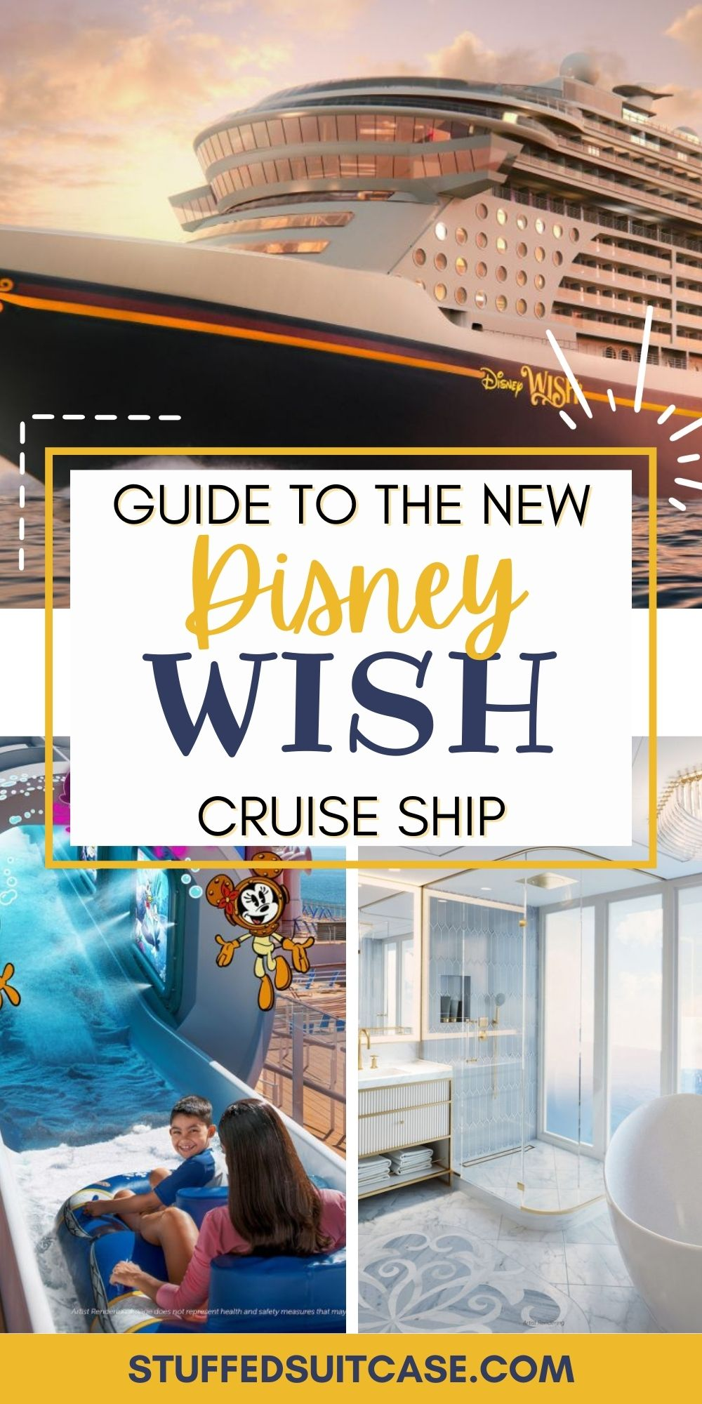 collage of Disney Wish cruise photos with text overlay