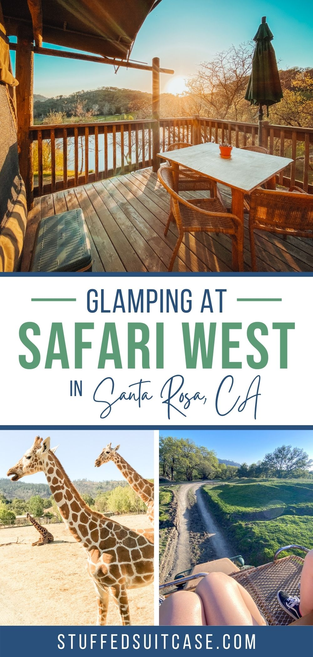 collage image glamping tent deck giraffes and landscape view of safari west