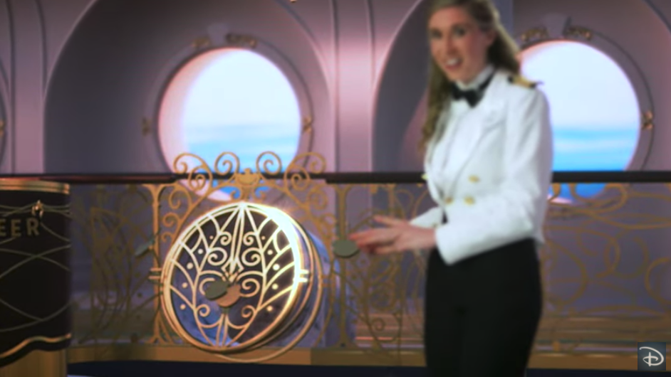 secret door to slide entrance for oceaneer club on disney wish cruise ship