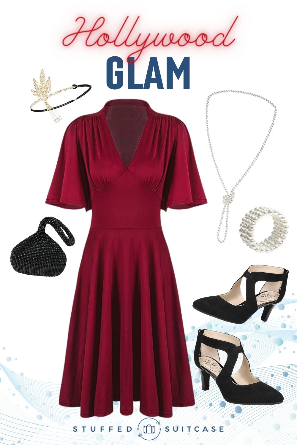 hollywood glam outfit collage red dress black shoes and pearl accessories
