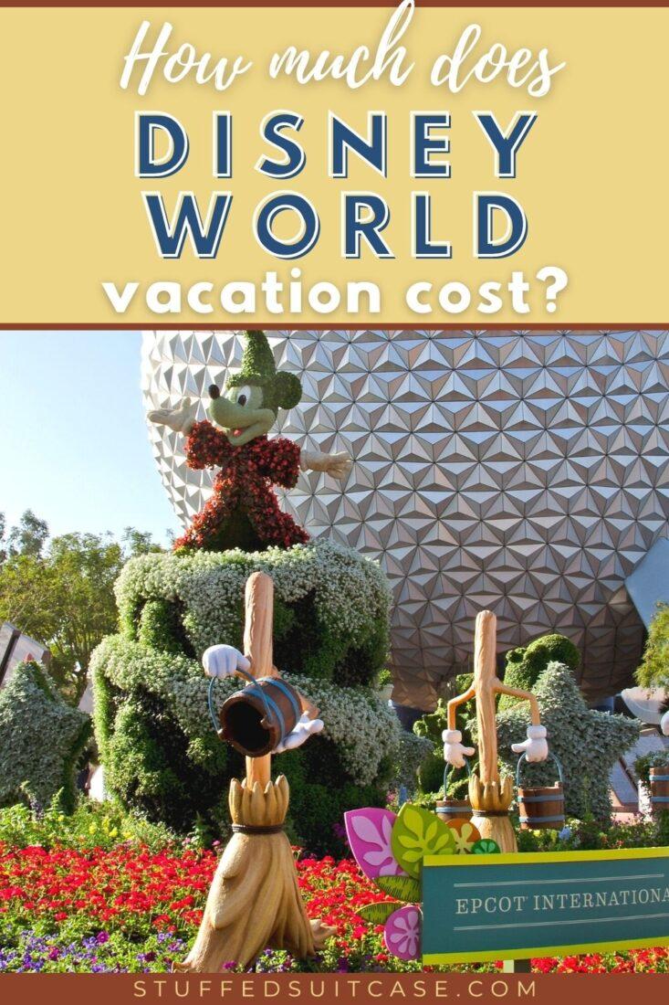 mickey topiary in front of epcot spaceship earth with text overlay for how much does a disney world vacation cost