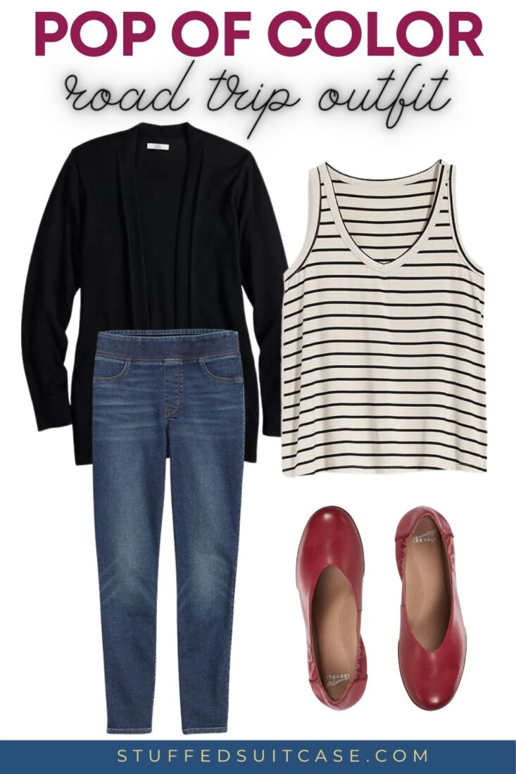striped tank top with jeggings and black cardigan and red ballet shoes for travel road trip outfit idea