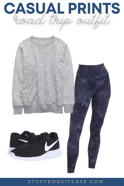 road trip outfit sweatshirt leggings sneakers