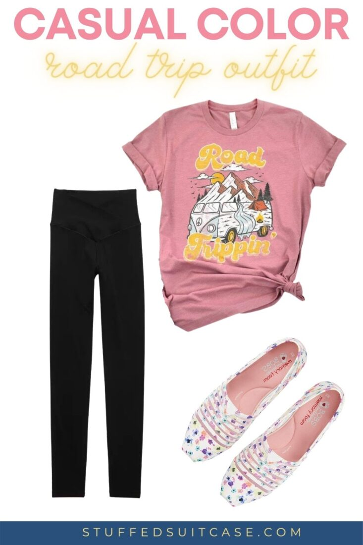 black leggings and pink road trip t shirt with floral white slip on shoes