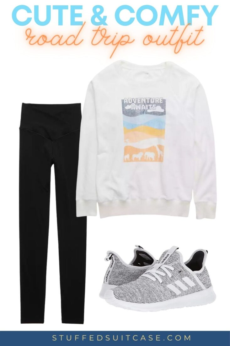 road trip outfit with white sweatshirt and black leggings
