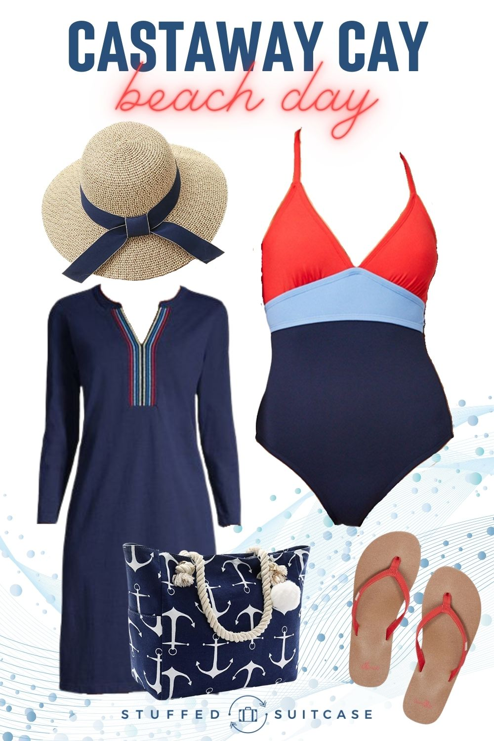castaway cay disney cruise outfit for beach swimsuit cover up hat bag