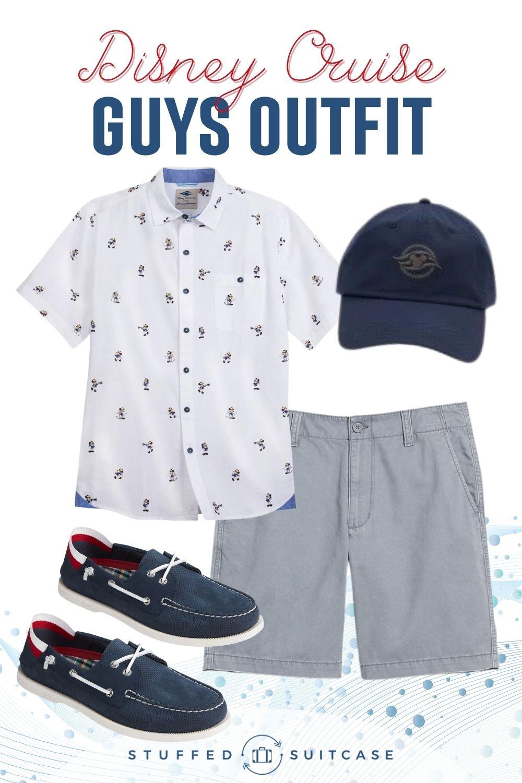 disney cruise outfit for men shirt shorts shoes ball cap
