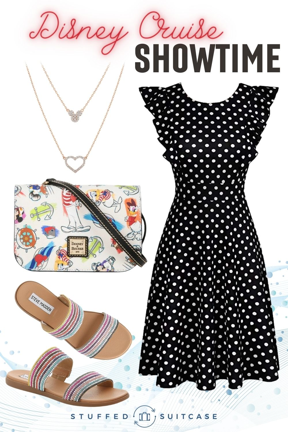 cruise outfit collage with dress purse sandals necklace