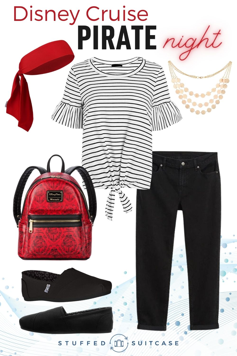 Disney cruise pirate night outfit for women with striped top black jeans redd pirate backpack