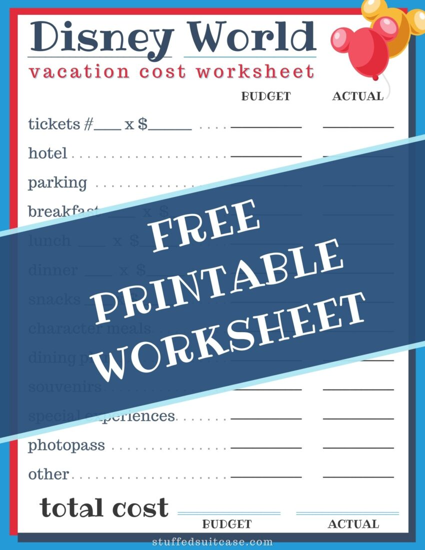 disney world calculator cost printable budget worksheet