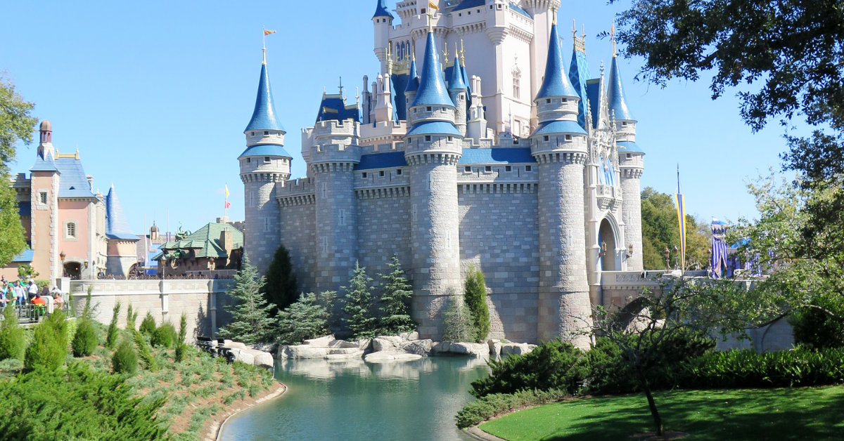 A side view of the Disney castle.