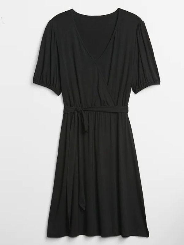 black gap wrap dress