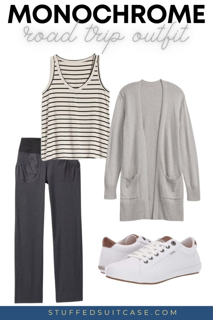 comfortable road trip outfit of tank top cardigan prana pants and white sneakers