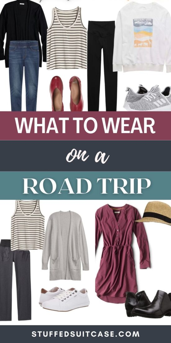 collage of road trip outfits with what to wear on a road trip text