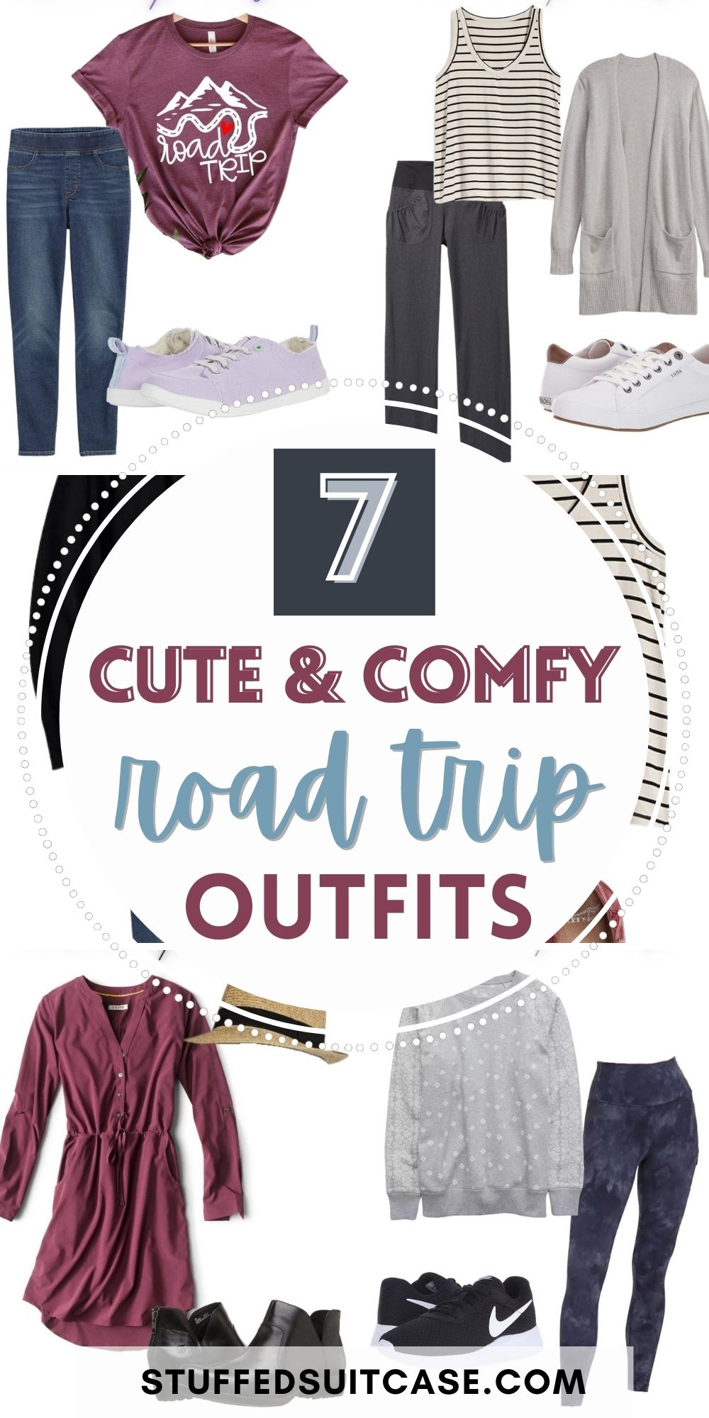 collage of road trip outfits with text