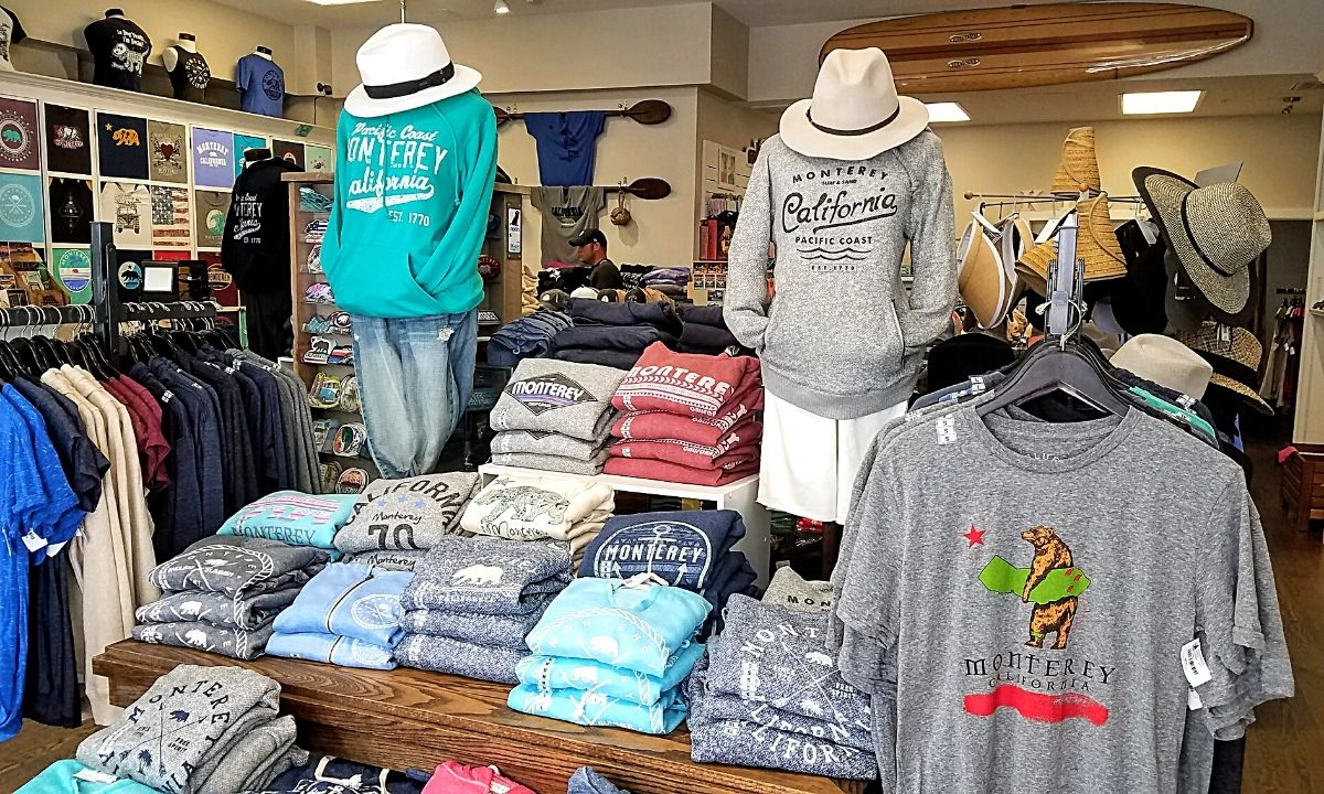 monterey california shirts in shop at cannery row