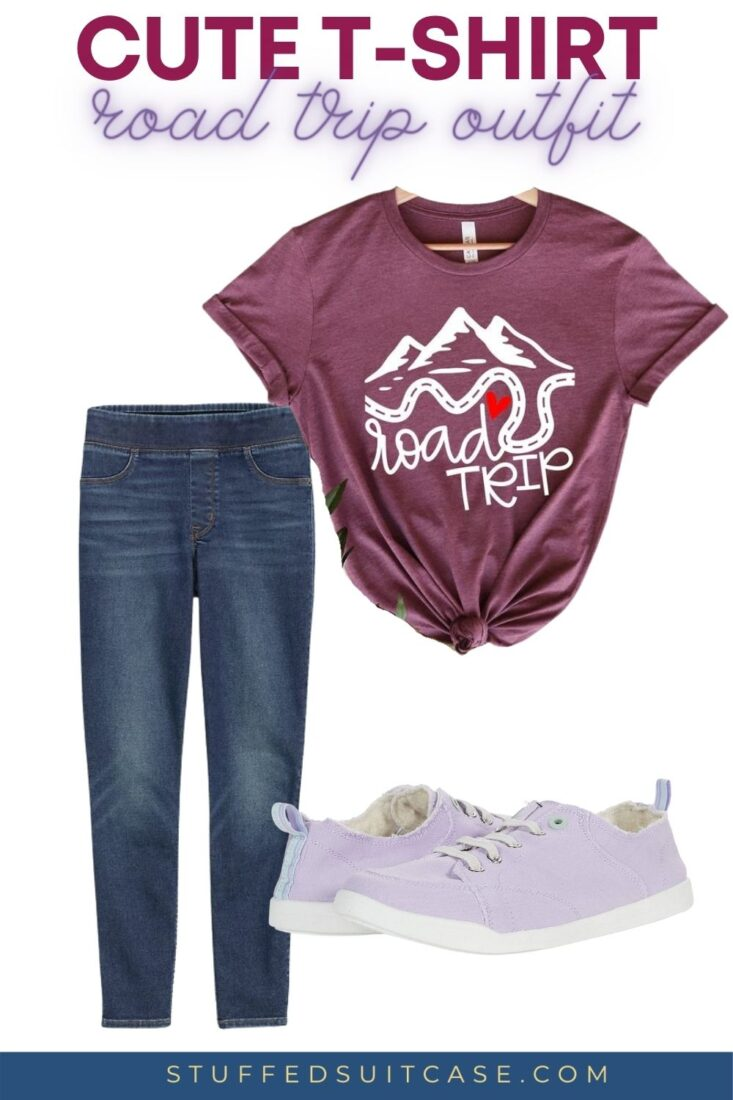 road trip graphic tee with jeggings and slip on sneakers