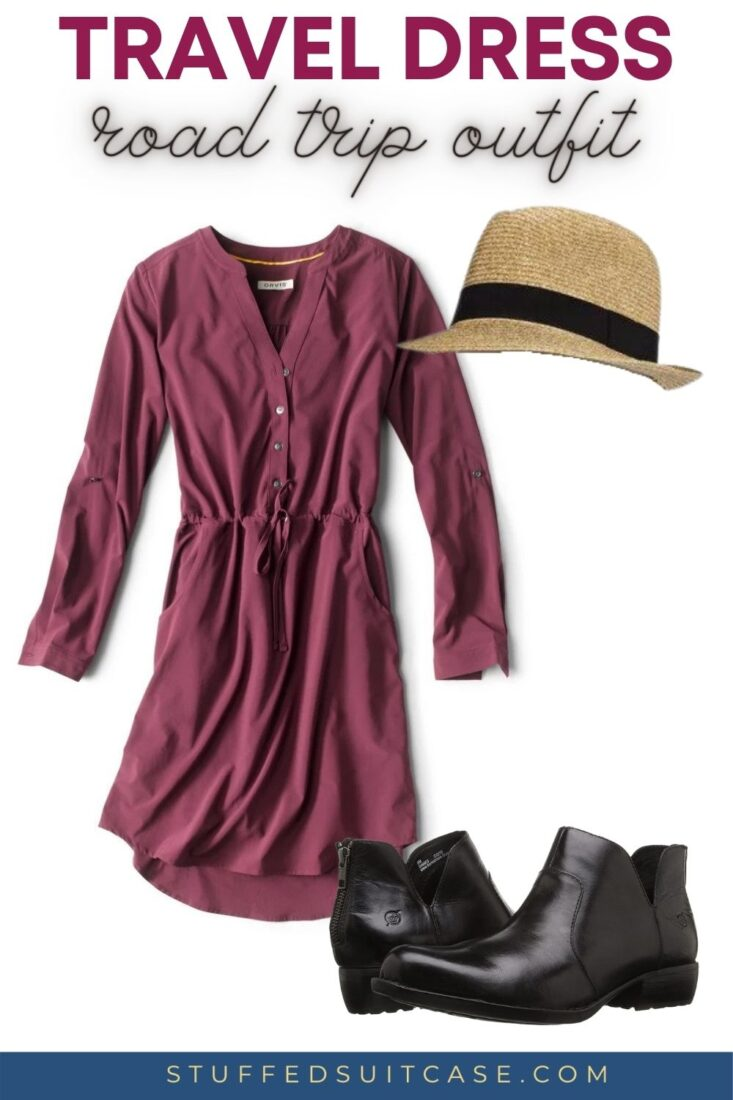 dressy road trip outfit with plum color dress fedora hat and black ankle boots