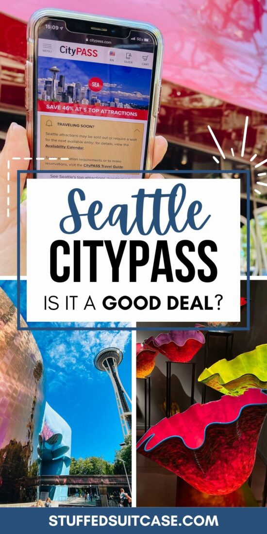 collage seattle citypass phone screen space needle mopop chihuly glass bowls