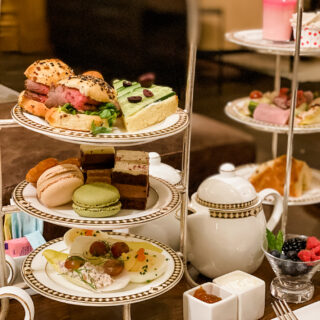 trays of food at fairmont afternoon high tea